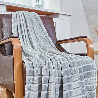 Bertte Ultra Velvet Plush Super Soft Decorative Stripe Throw Blanket-50 x 60 , Smoke Grey