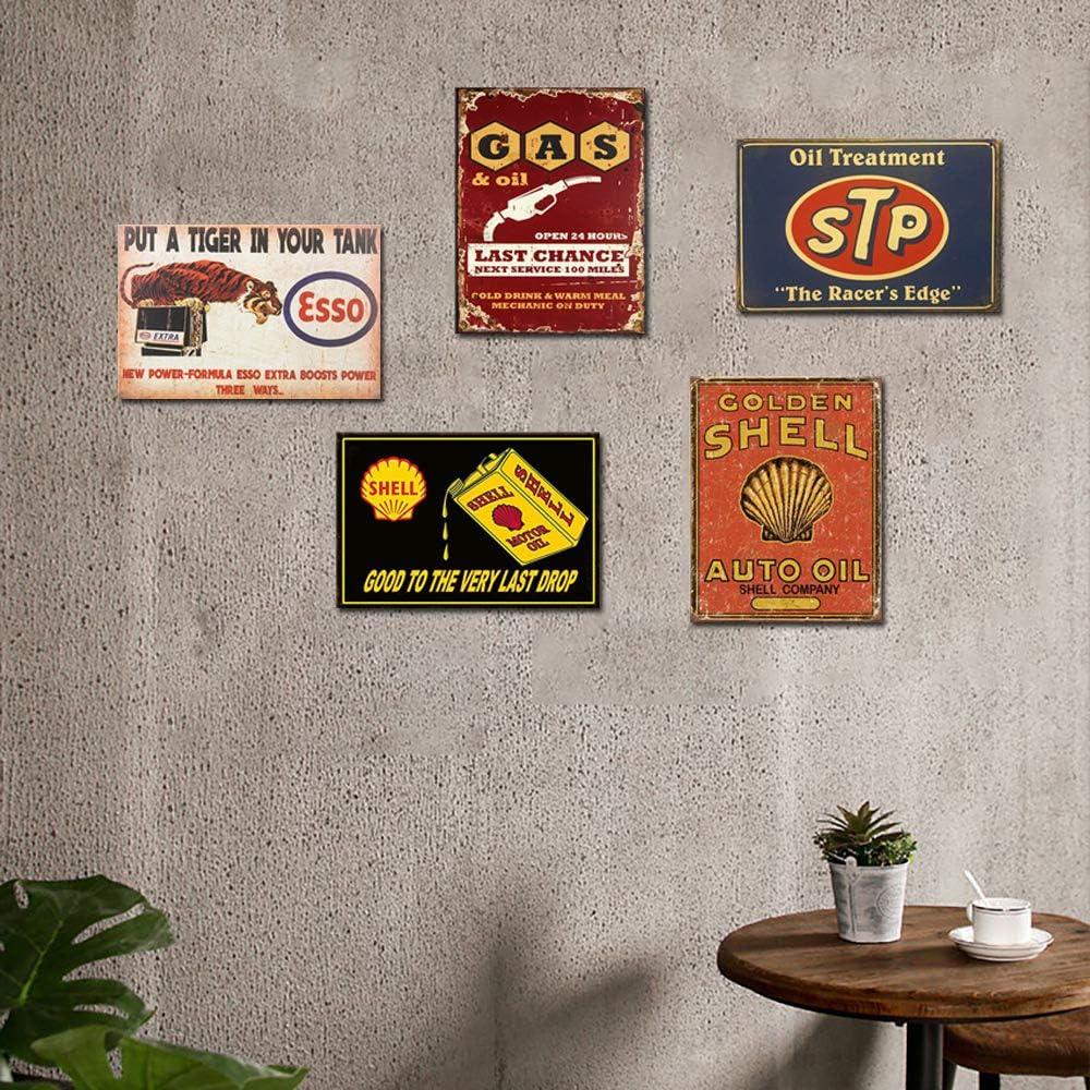 FlowerBeads Garage en m/étal Peinture Tin Sign D/écoration Murale r/étro Pub et Barre Mobil Oil Poster Mural 20,3/x 30,5/cm 4PCS-20X30CM Motor Oil-a