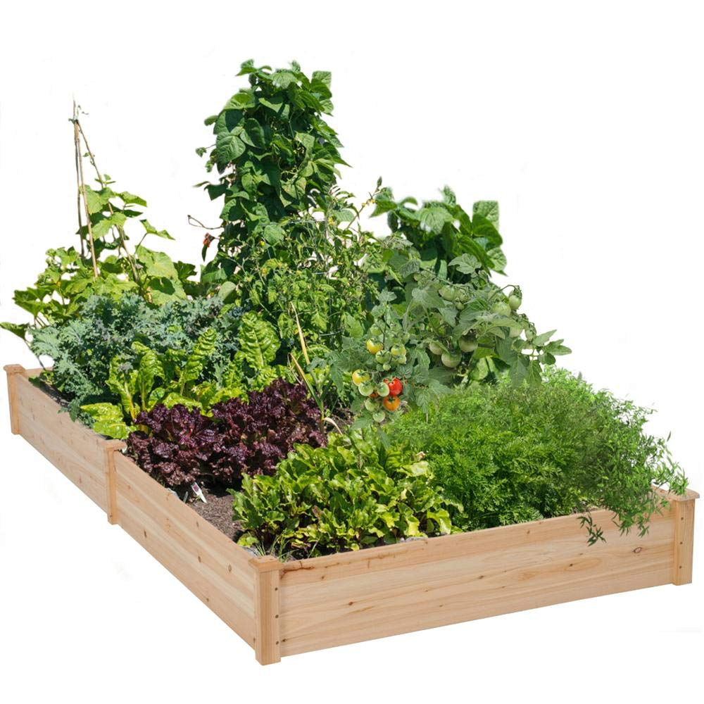 Yaheetech Wood Raised Garden Bed Boxes Kit Elevated Flower Bed