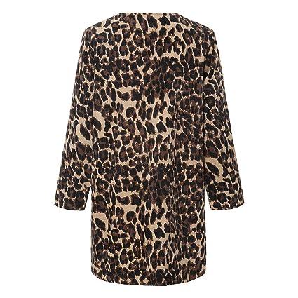 Luckycat Leopardo de Las Mujeres Sexy Winter Warm New Wind Coat Cardigan Leopard Print Long Coat: Amazon.es: Ropa y accesorios