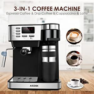 Aicook Espresso and Coffee Machine, 3 in 1 Combination 15Bar Espresso Machine and Single Serve Coffee Maker