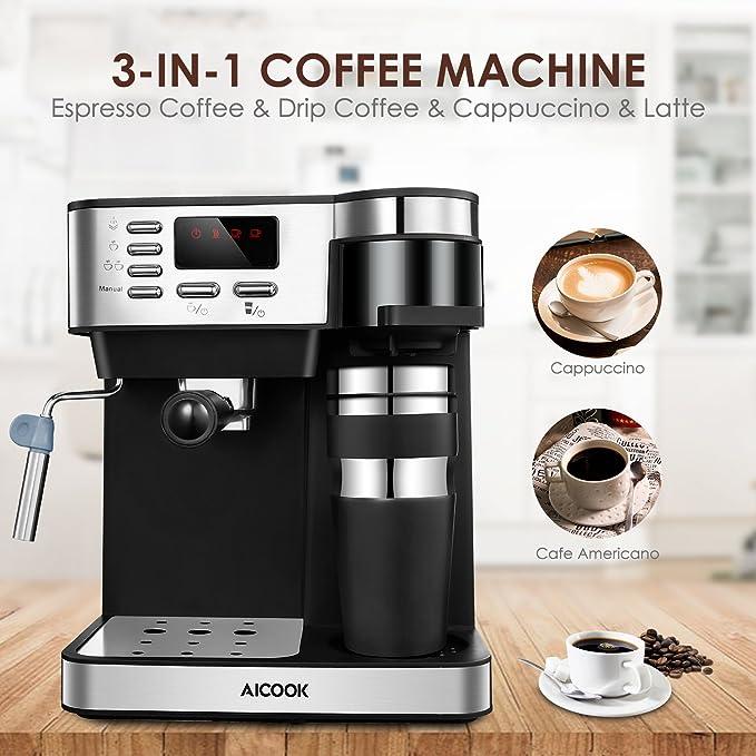 Amazon.com: AICOOK Máquina de café y café 3 en 1 ...