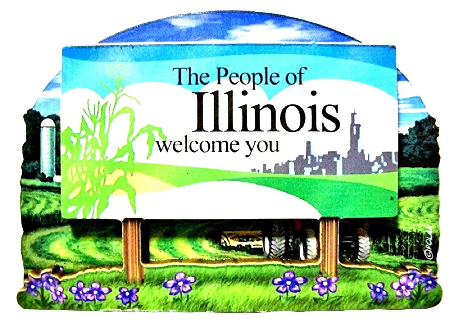 Illinois State Welcome Sign Wood Fridge Magnet 2