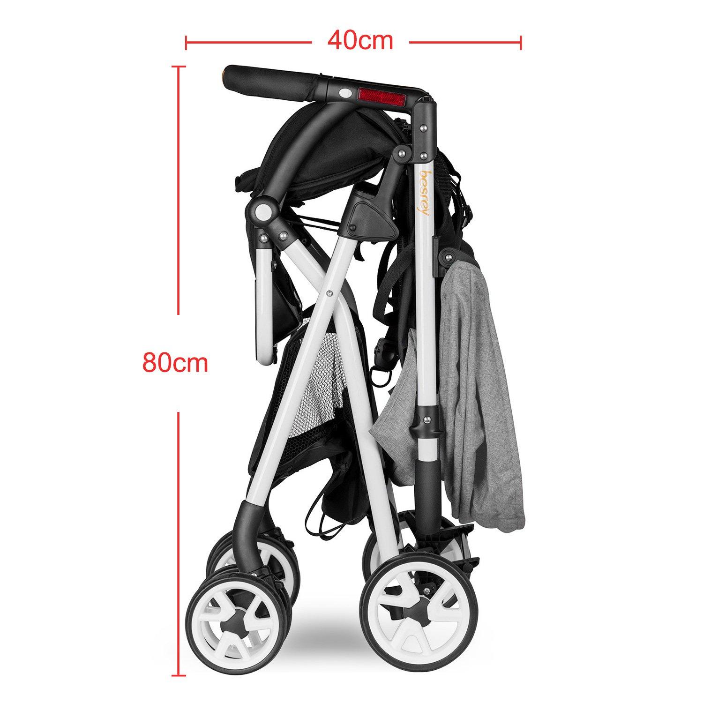 Besrey - Cochecito capazo plegable para bebé, 6 – 36 meses, con cinturón de seguridad, capacidad de carga de 15 kg máx., certificación de seguridad ECE de ...