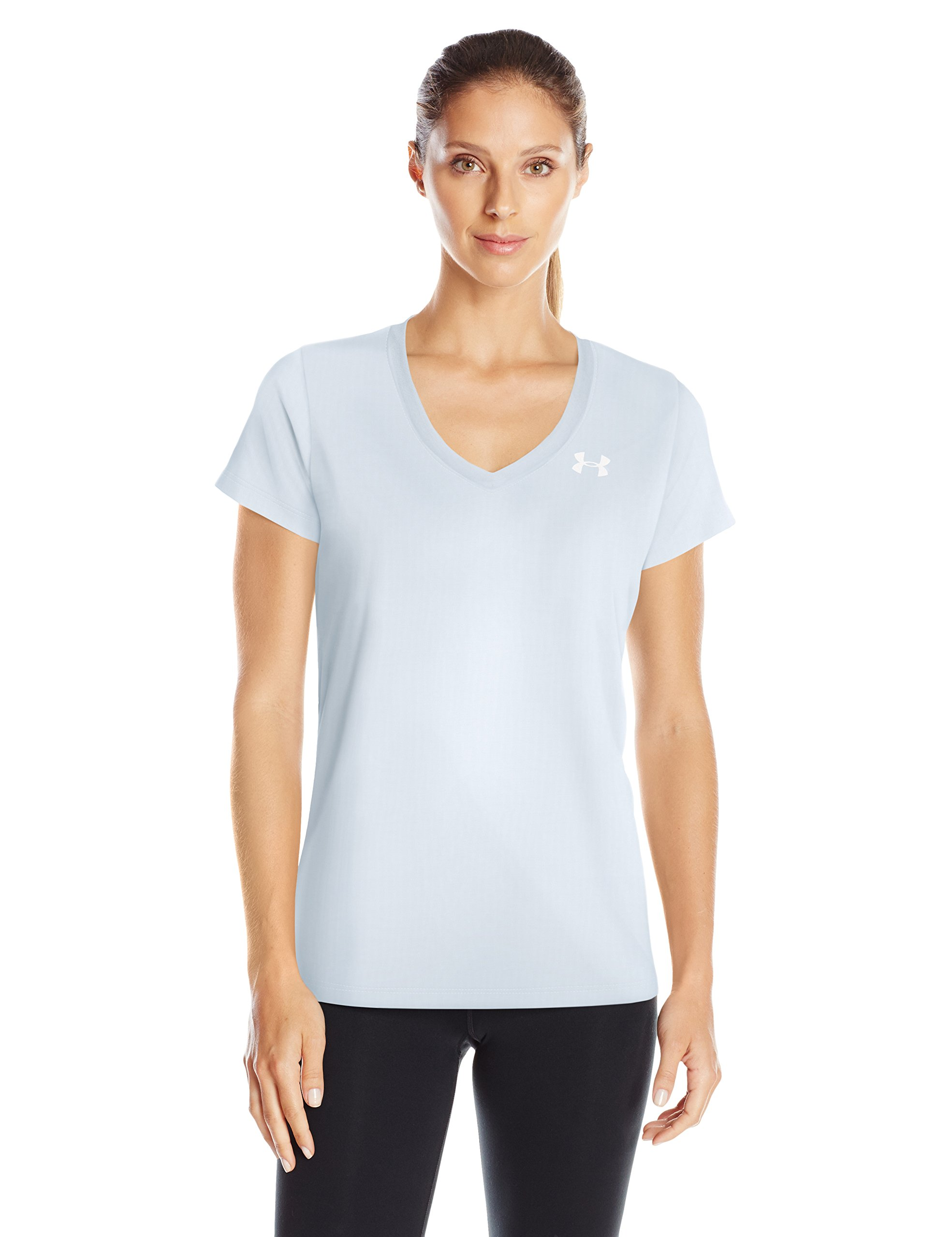Under Armour Women's Tech Twist V-Neck, Halogen Blue (441)/Metallic Silver, X-Small