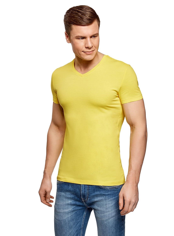 oodji Ultra Uomo T-Shirt Basic con Scollo a V Senza Etichetta RIFICZECH s.r.o. 5B612002M