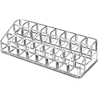 OKVGO Clear Acrylic Lipstick Organizer for Cosmetic Make Up Holder (Crystal 24 Sections)