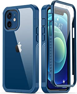 GOODON iPhone 12 Case,iPhone 12 Pro Case with Built-in Screen Protector,Pass 20 ft. Drop Test Military Grade Clear Cover Full Body Protective Phone Case for Apple iPhone 12/12 Pro 6.1