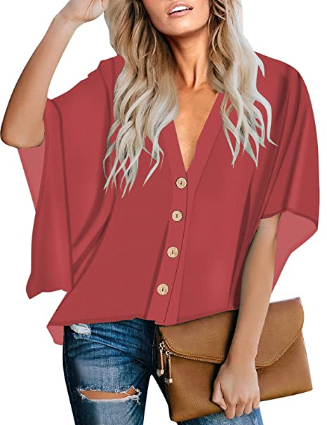 Amazon.com: LookbookStore - Blusa suelta con botones y ...