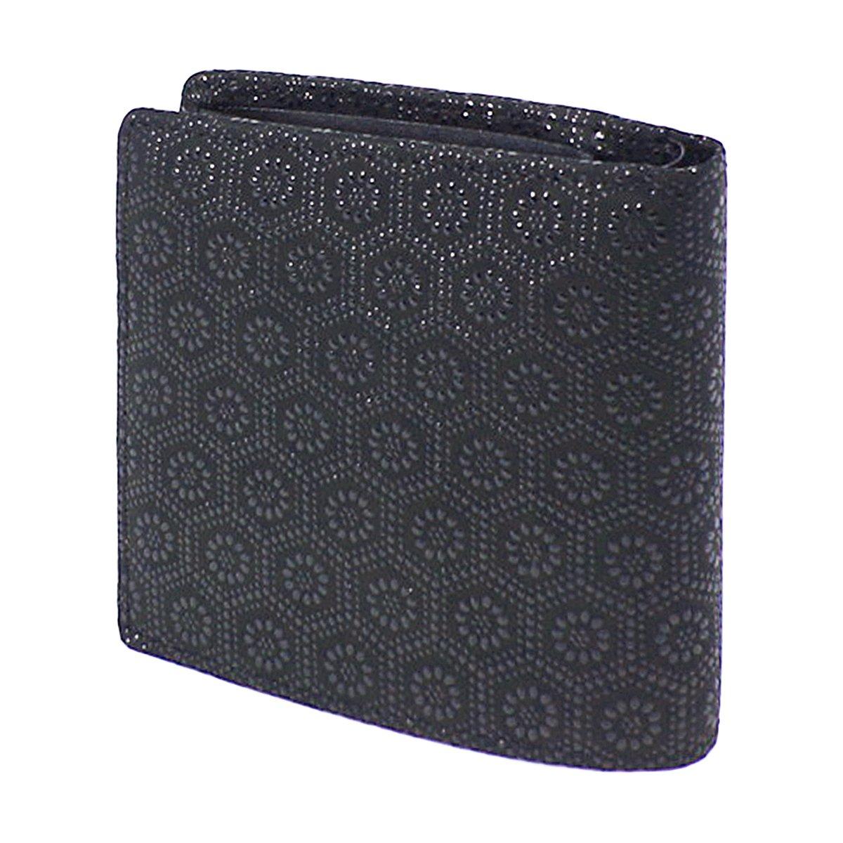INDEN-YA 印傳屋 印伝 財布 二つ折り財布 メンズ 男性用 黒×黒 亀甲 2008-01-003 B01HHHWM7W