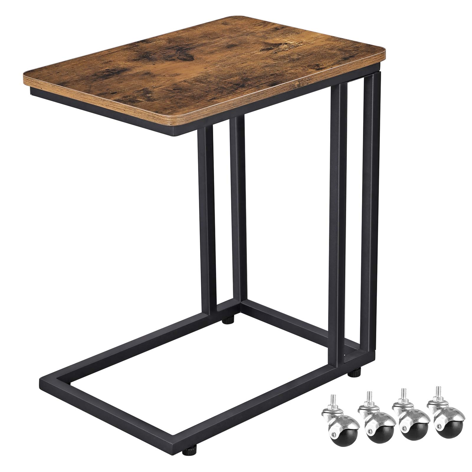 VASAGLE Industrial Side Table, Mobile Snack Table for Coffee Laptop Tablet, Slides Next to Sofa Couch, Wood Look Accent Furniture with Metal Frame ULNT50X by VASAGLE
