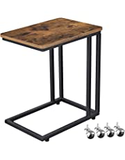 VASAGLE Industrial Side Table, Mobile Snack Table for Coffee Laptop, Next to Sofa Couch ULNT50X