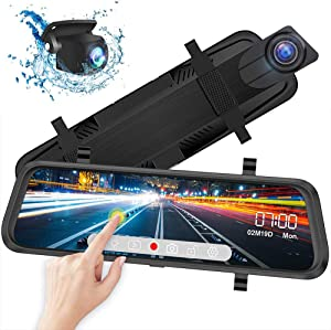 "Mirror Dash Cam - 10"" Full HD Touch Screen Dash Camera, Streaming Media Parking Reversing Camera with Loop Recording, 1080P Rear & Front Dual Lens with Night Vision & 170° Wide Angle"