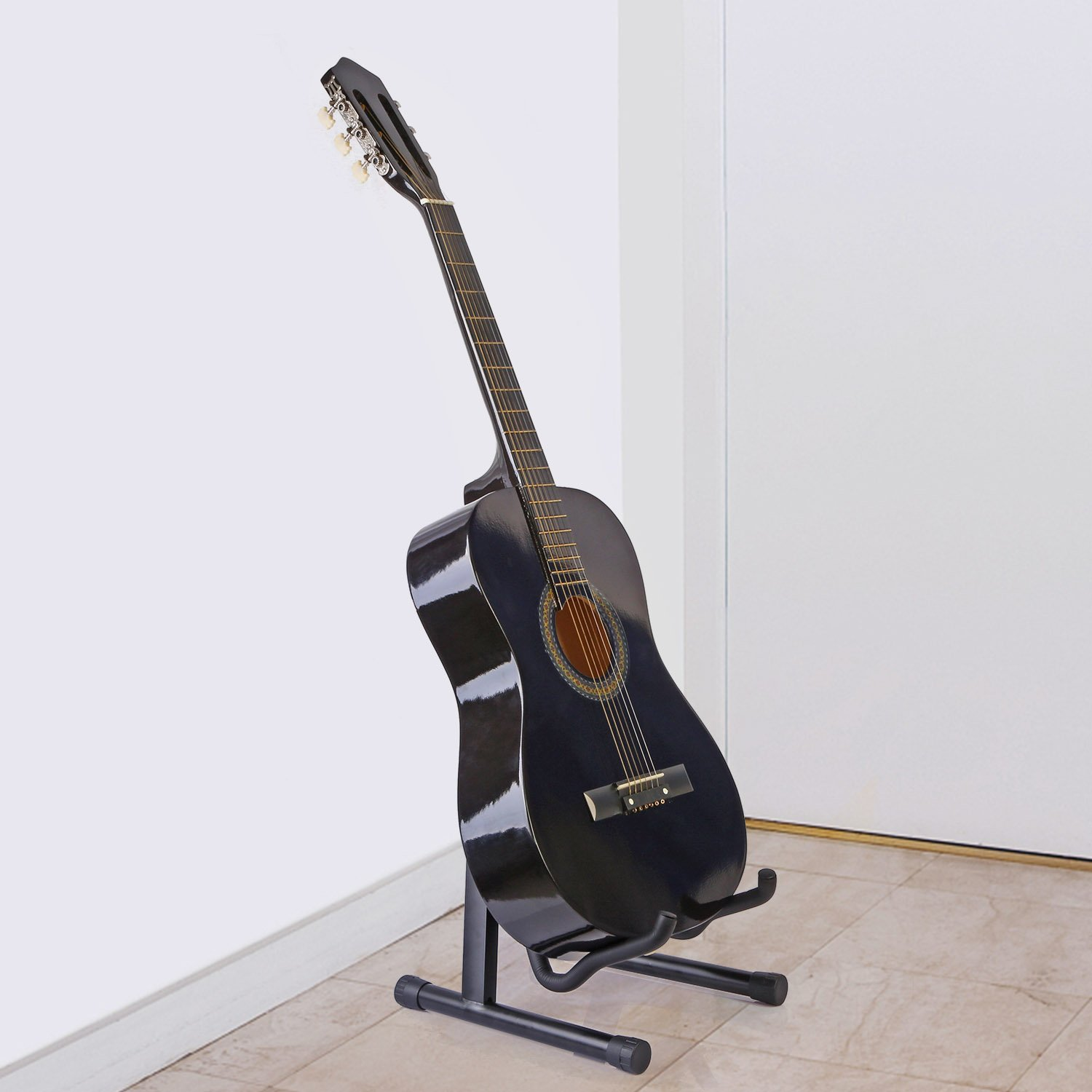 GPCT Universal Foldable Guitar Stand. Ready-To-Use Position, Adjustable Portable Light Weight Guitar Holder. For Electric Box/Classical/Folk/Flamenco/Hawaiian/Bass/Violin/Ukulele/Banjo/Mandolin