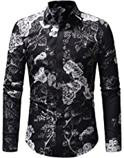 OSYS THX Men's Floral Shirts Long Sleeve Casual Slim Fit Button Down Shirts