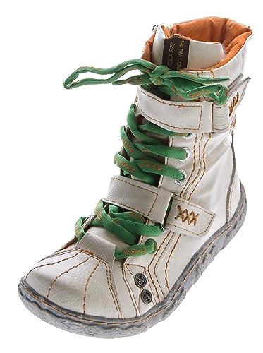 ac96e4b2636b Leder Winter Stiefeletten Damen TMA Knöchel Schuhe gefüttert Weiß Stiefel  im used look Gr. 36