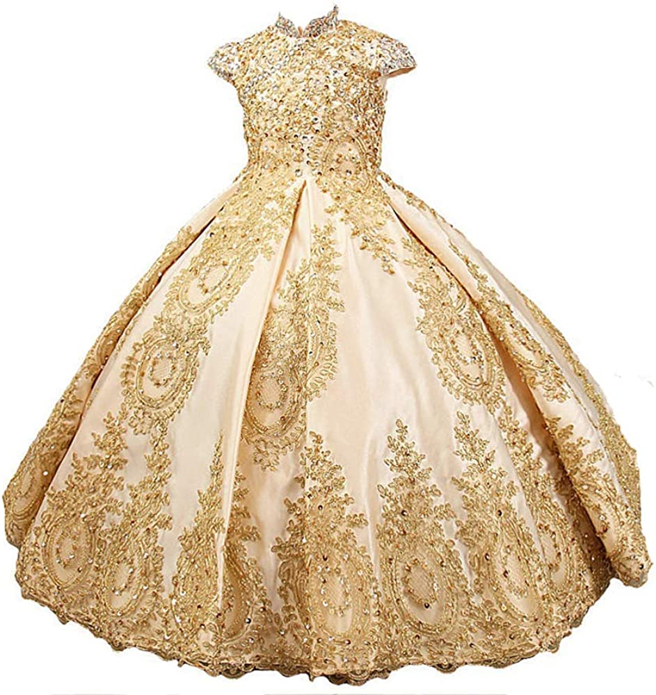 Washington Mall Adela Gold Lace Flower Girl Dresses for Beaded Popularity Toddler Wedding P