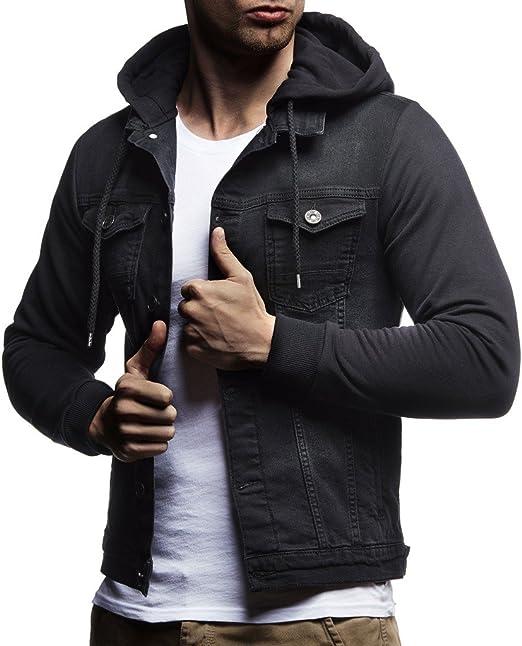 Leif Nelson スウェットジャケット メンズ ヴィンテージデニムジャケット スリムフィット 長袖フード付きデニムジャケット
