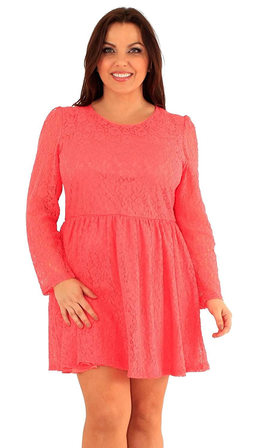09d9b6908a69 New Womens Plus Size Floral Lace Puff Long Sleeve Skater Going Out Dress  US14-20: Amazon.ca: Clothing & Accessories