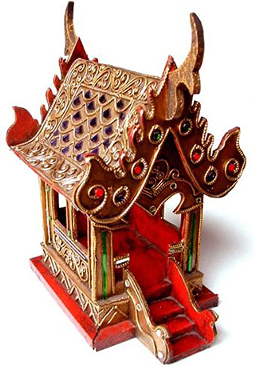 Thai Spirit House SanPraPhum10 Thai Handmade Spirit House Wood Gold Glass Color