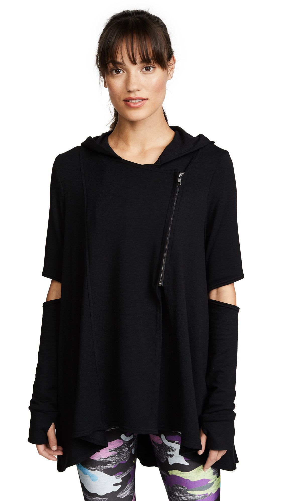 Terez Women's Hoodie With Elbow Slashes, Black, Large