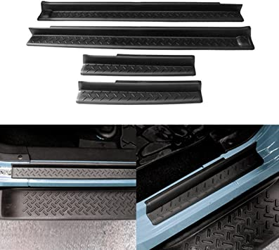 AVOMAR Front and Rear Entry Guards Door Entry Sill Plate Protectors For 2007-2016 Jeep Wrangler 4 Door