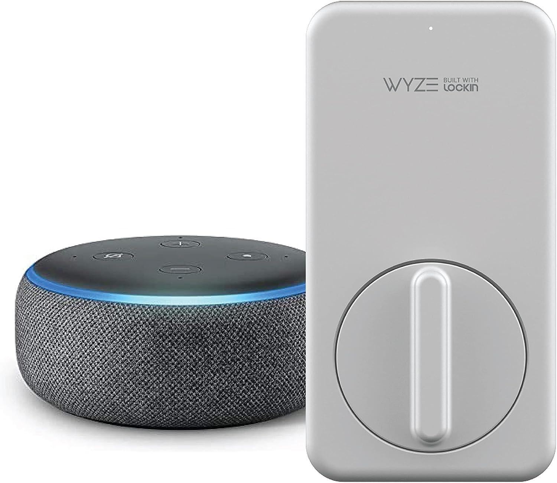 WYZE Lock WiFi & Bluetooth Enabled Smart Door Lock, Wireless & Keyless Door Entry, | Works with Alexa | A Certified for Humans Device, with Echo Dot (3rd Gen)