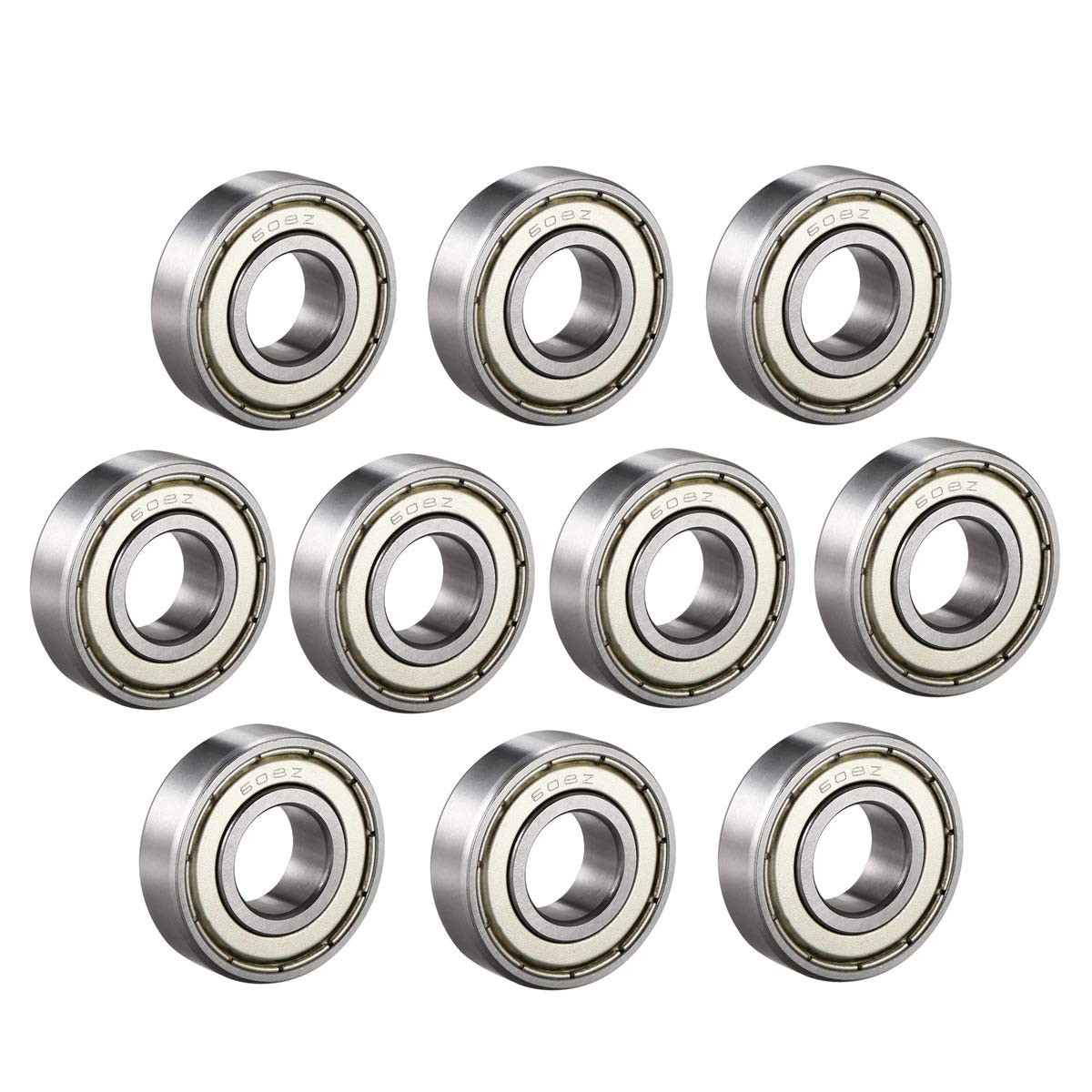 Auxcell 608Z Deep Groove Ball Bearing Double Shield 608ZZ 608 2Z 80018 8mm x 22mm x 7mm Carbon Steel Bearings Pack of 10
