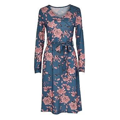 63c1e4cc6bd637 ... Blume Druckenkleid mit Gürtel Elegante Kleider Hoch Taille Faltenkleid  Casual A-Linie Rock Gerade Kleid Beiläufig Blumenkleider: Amazon.de:  Bekleidung