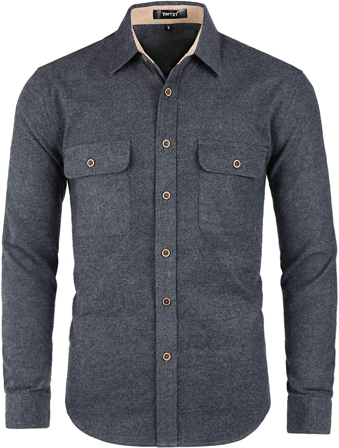 TATT 21 Men Contrast Collar Two Pockets Button Down Brushed Long Sleeve Casual Shirt