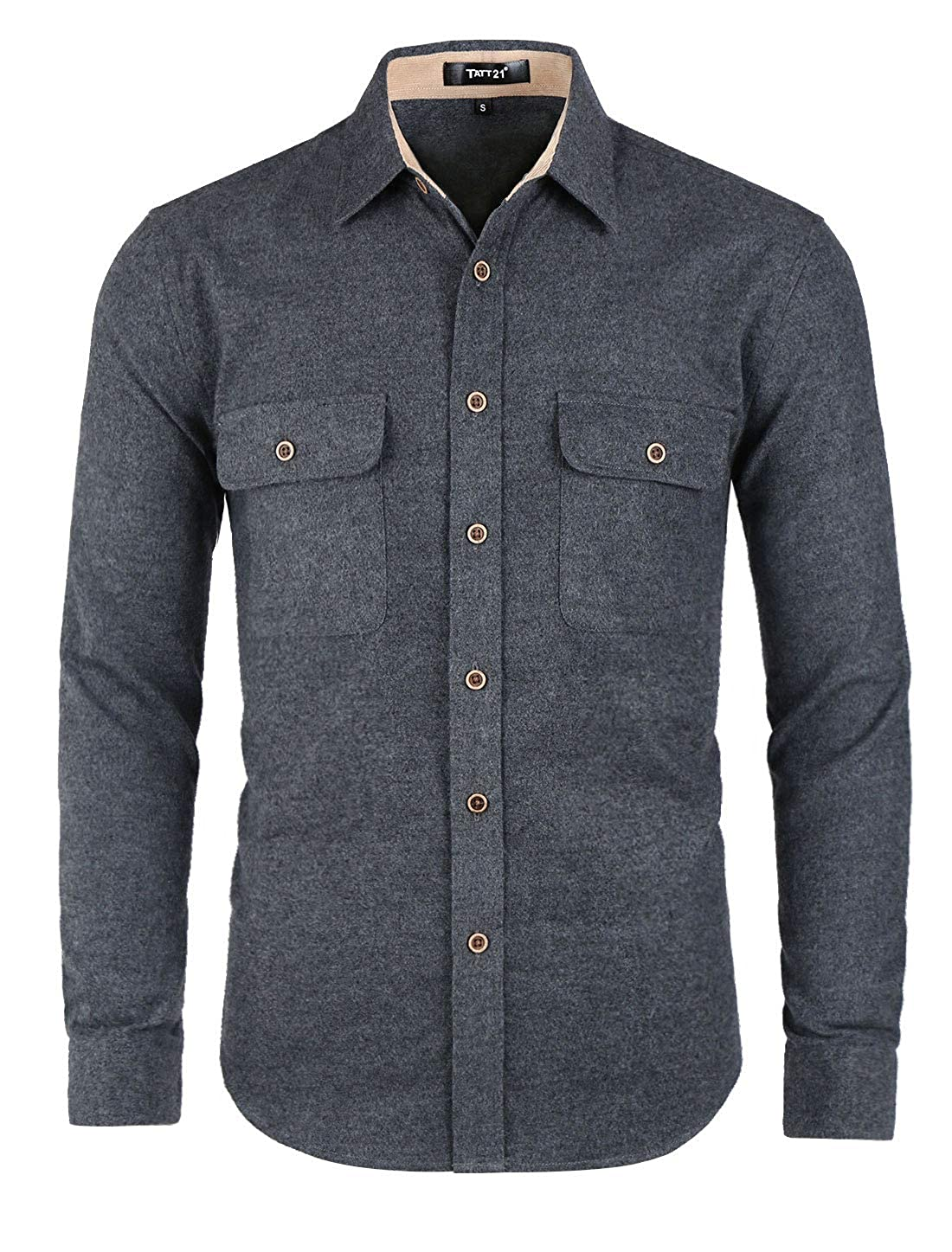 TATT 21 Men Two Pockets Button Down Shirt Contrast Brushed Long Sleeve Cotton Casual Overshirt