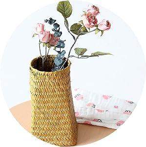 Foldable Wickerwork Storage Basket Hanging Decorative Baskets Garden Flower Pot Rattan Planter Seagrass Laundry Basket,Red