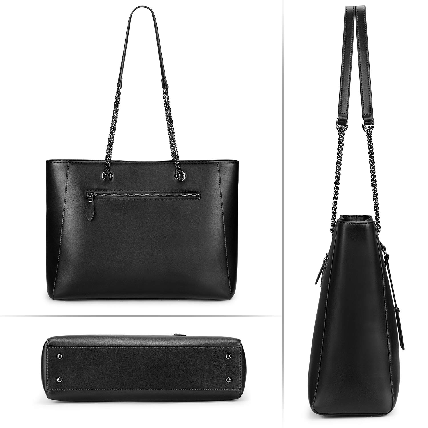 S-ZONE Women Leather Tote Bag Genuine Leather Shoulder Bag Fit Up to 15.6 in Laptop by S-ZONE (Image #4)