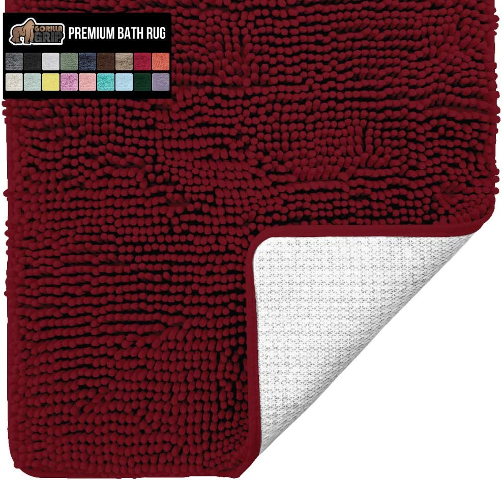 Gorilla Grip Original Luxury Chenille Bathroom Rug Mat, 30x20, Extra Soft and Absorbent Shaggy Rugs, Machine Wash Dry, Perfect Plush Carpet Mats for Tub, Shower, and Bath Room, Burgundy