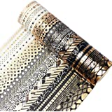 YUBBAEX 20 Rolls Washi Tape Set Black Gold Foil Print Decorative Tapes for Arts, DIY Crafts, Bullet Journals, Planners, Scrap