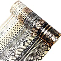 YUBBAEX 20 Rolls Washi Tape Set Black Gold Foil Print Decorative Tapes for Arts, DIY Crafts, Bullet Journals, Planners…
