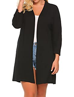 bcefa86b58e IN VOLAND Women s Plus Size Long Sleeve Draped Open Front Solid Cardigan  Sweater
