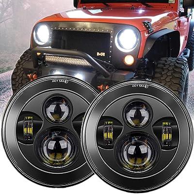 "Z-OFFROAD 7"" LED Headlights Dot Approved Round High Low Beam Headlamp for Jeep Wrangler JK JKU TJ LJ CJ Sahara Rubicon Hummber H2 H1 - Black, 1 Pair: Automotive"