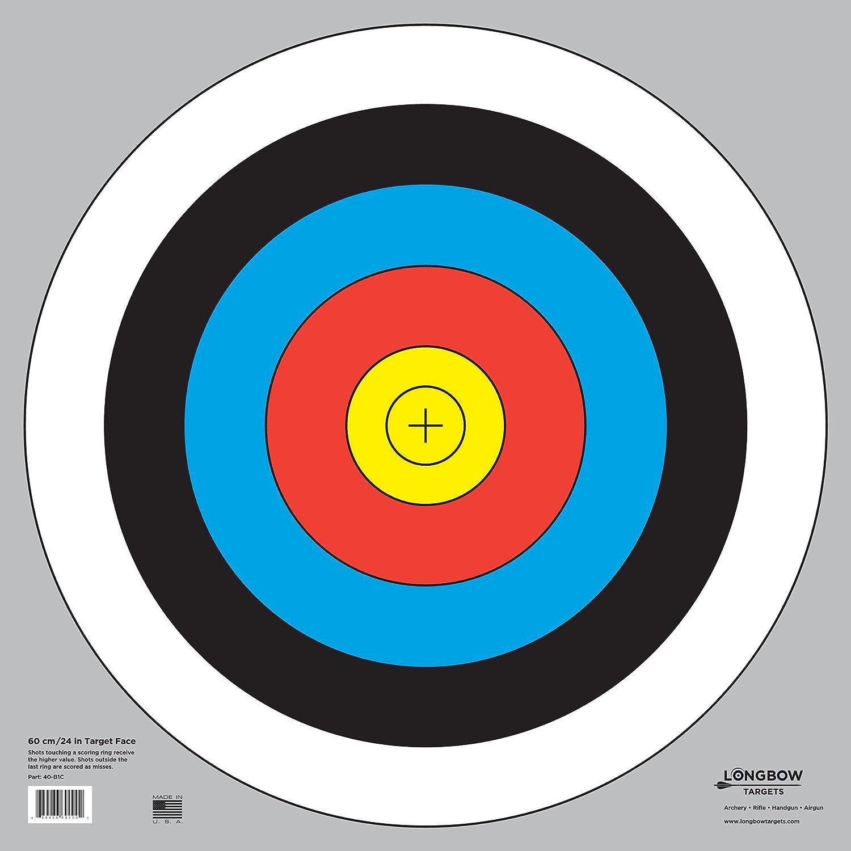 Longbow Targets 60 cm 24 in Bullseye Archery and Gun Targets (4, 10, 25, 100 Packs)