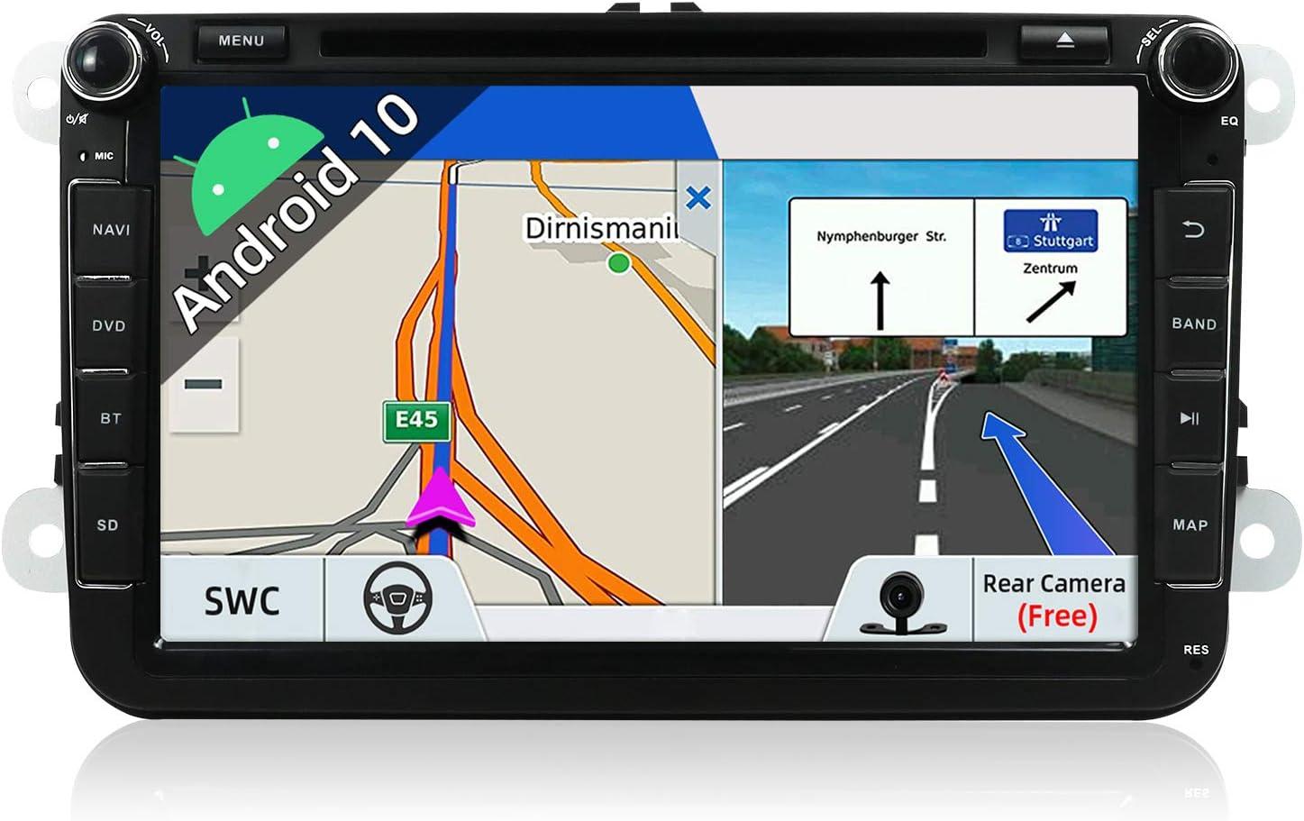 "JOYX Android 10 Autoradio 2 Din Car Stereo Compatible para VW SEAT SKODA POLO PASSAT TIGUAN GOLF Fabia Navegacion | 8"" | 2G+32G | LIBRE Cámara trasera Canbus |Soporte DAB 4G WIFI Bluetooth Carplay SWC"