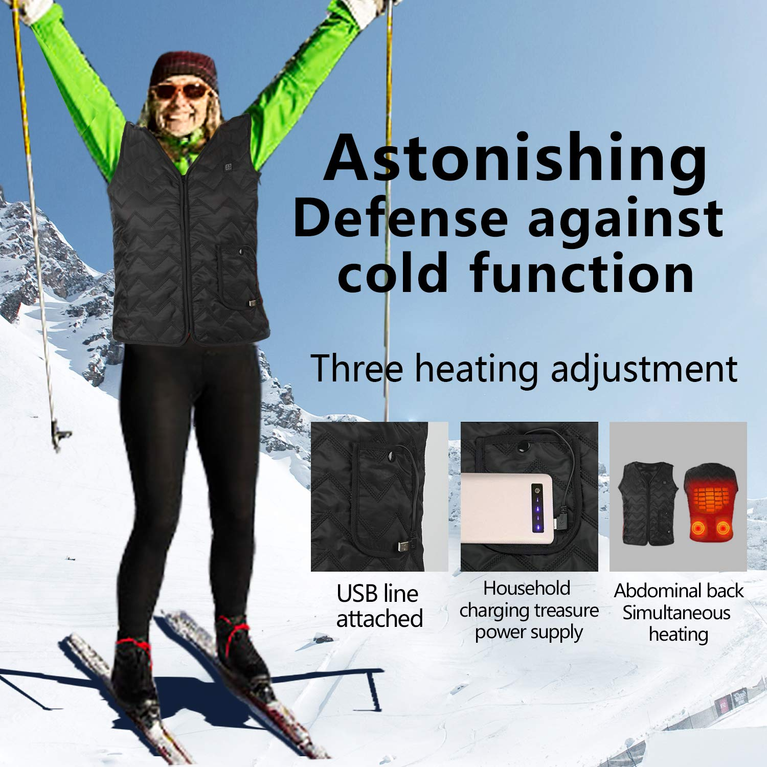 Heating Electric Vest USB Charging Heated Vest Cold-Proof Heating Clothes Washable Four Sizes Adjustment No Battery Pack Included Black by YZFDBSX (Image #3)