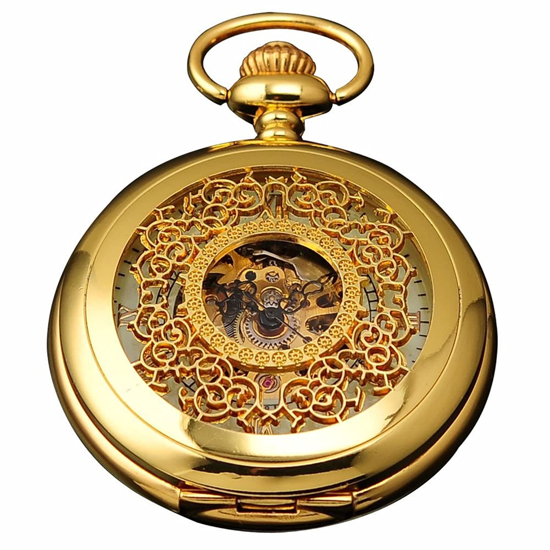 ampm24 luxury golden luminous mens mechanical pocket watch chain ampm24 luxury golden luminous mens mechanical pocket watch chain and ampm24 gift box wpk020 amazon co uk watches
