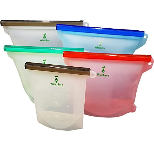 WiseLime Bolsas de silicona para almacenar alimentos 4 unidades,2grandes y 2pequeñas, reutilizables y sellables,antigoteo,para ...