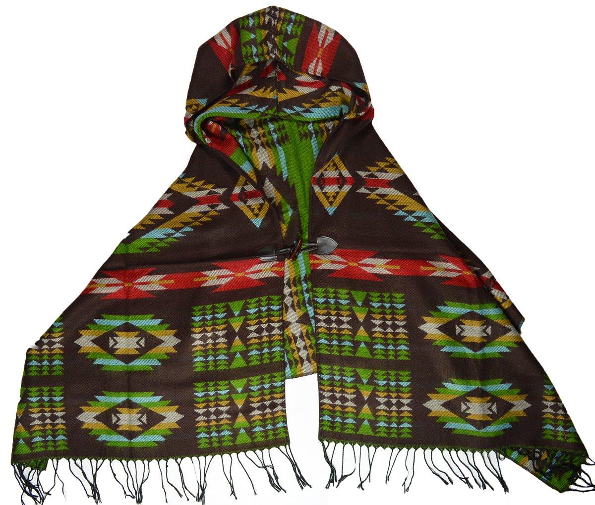 Poncho con capucha, diseño de indio navajo, color marrón