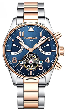 Fanmis Luminous Waterproof Stainless Steel Calendar Men Automatic Mechanical Watch Tourbillon R Gold Blue