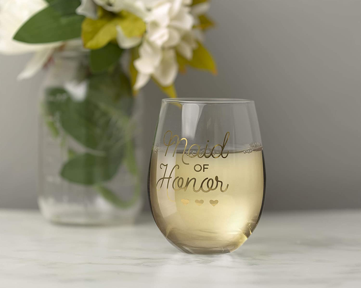 Kate /& Milo Maid of Honor Stemless Wine Glass MOH Gift The Perfect Proposal Gift