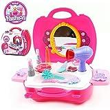 SainSmart Jr. Kinderschminkset Kindertag Geschenk für Kinder Schminksachen Mädchenkoffer für Kinder Mädchen Schönes Schminkset mit vielen Zubehör Pretend Makeup kit (14 Stück)