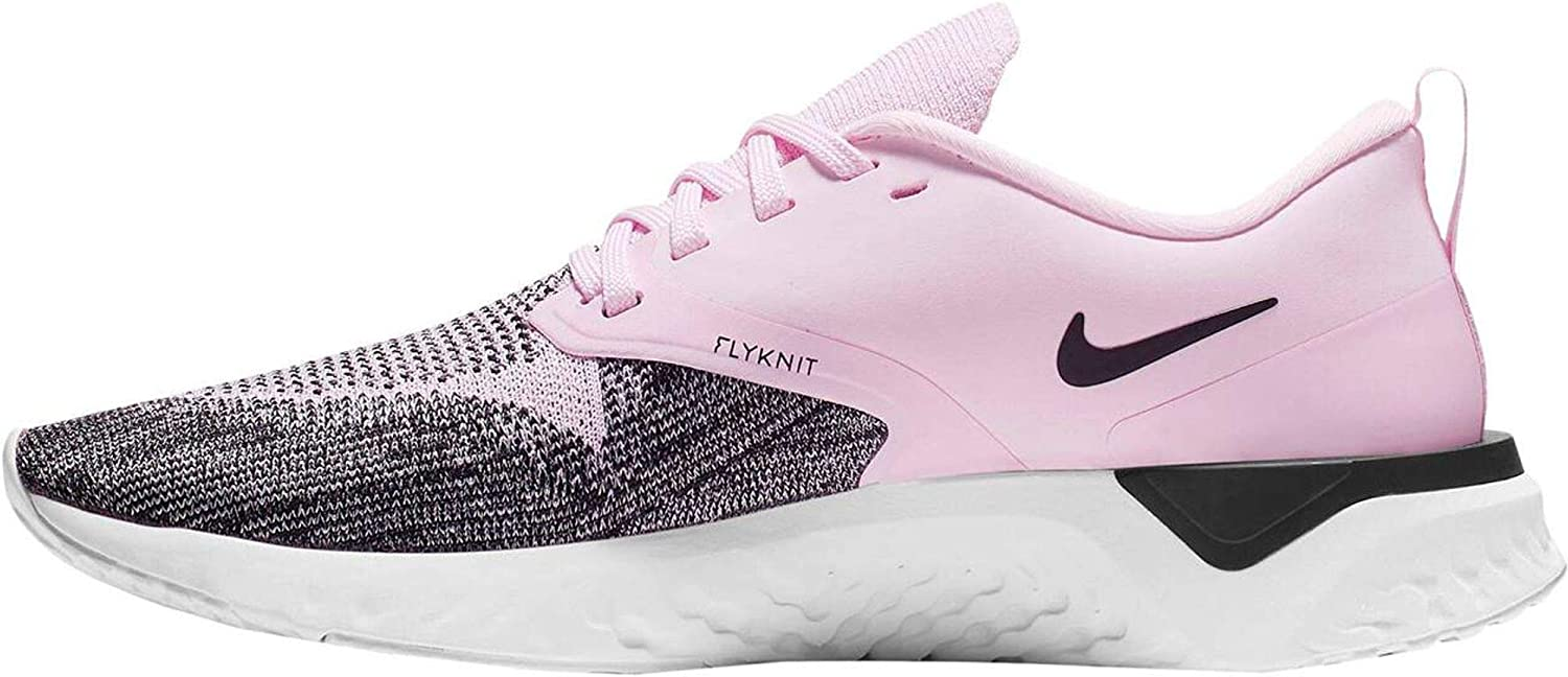 5, Pink Foam//Black//Platinum Tint Nike Womens Odyssey React Flyknit 2 Mesh Running Shoes
