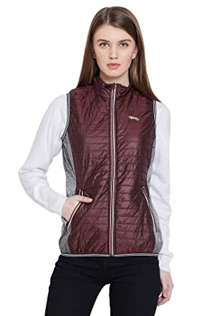 9a0e0e53c Jump USA Women Casual Maroon Winter Quilted Jacket: Amazon.in ...