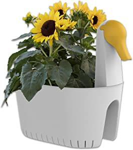 Sunzoo Marta Swan Decoration Planter: White Yellow Bird Animal Rail Planter, Indoor Outdoor, Patio Balcony Urban Garden Planters Easy Assembly Drainage
